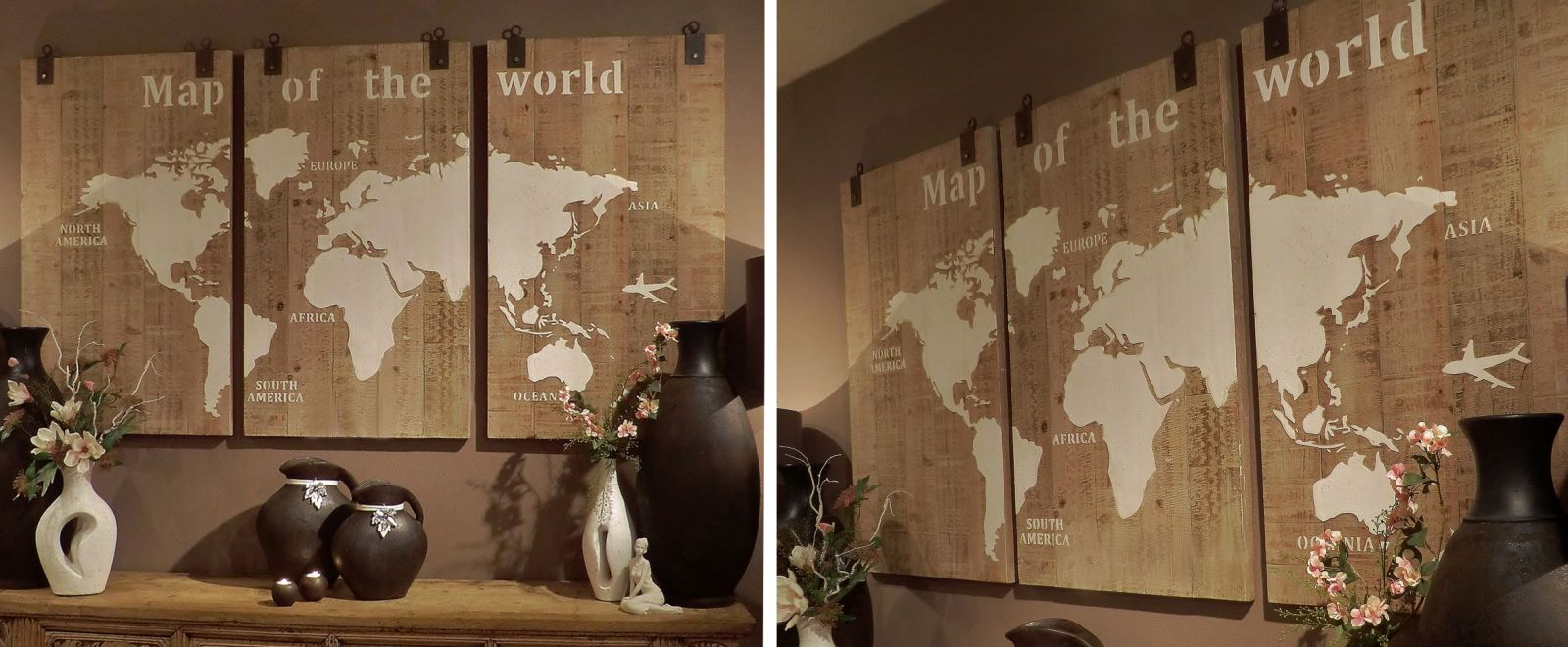 Muurdeco Map of the World 3-Luik - Sfeer Binnen - Sfeer en Interieur ...